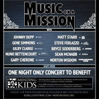 GENE SIMMONS, NUNO BETTENCOURT, JOHNNY DEPP, GARY CHERONE GILBY CLARKE: MUSIC ON A MISSION Special All-Star Benefit Concert: MENDING KIDS LUCKY STRIKE LIVE AUGUST 16, 2015