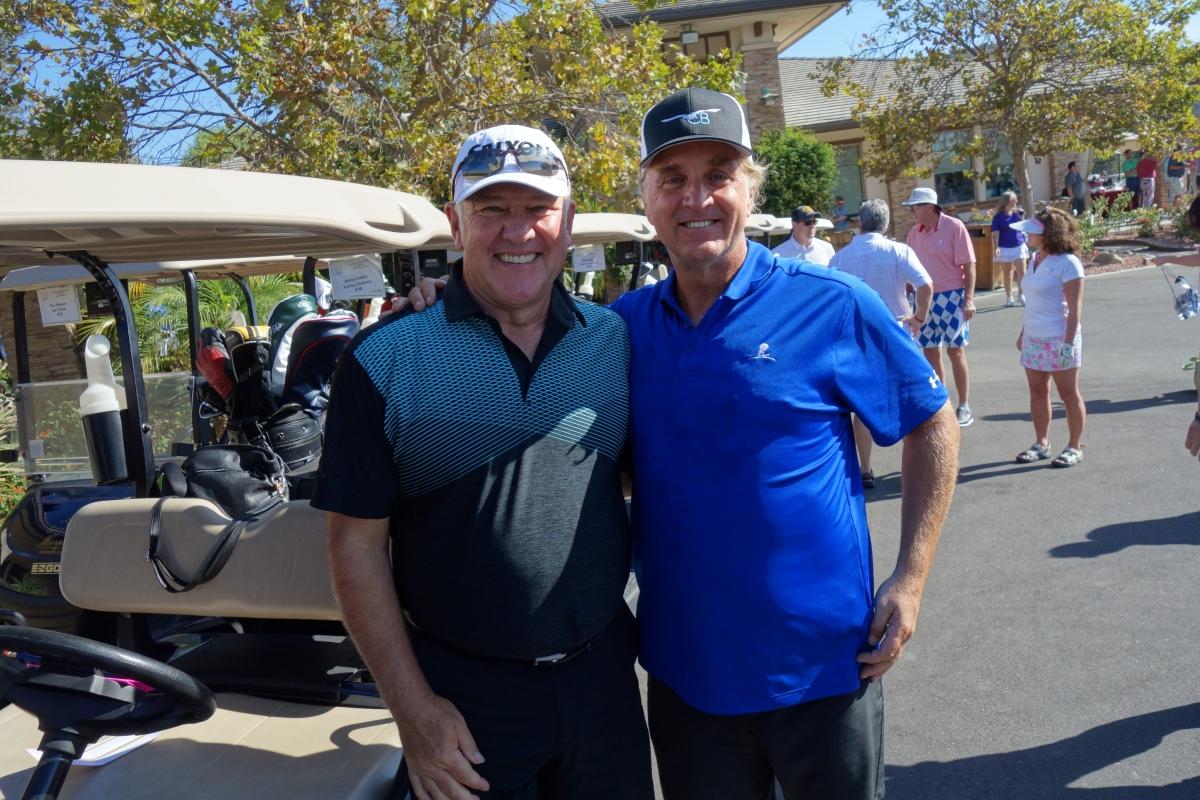 PATRICK WARBURTON ALEX LIFESON ROBBY KRIEGER JASON SCHEFF JOHN O'HURLEY DANNY SERAPHINE ED ROTH Jamming at Medlock Krieger Golf Tournament Moorpark to benefit ST JUDE CHILDREN'S HOSPITAL