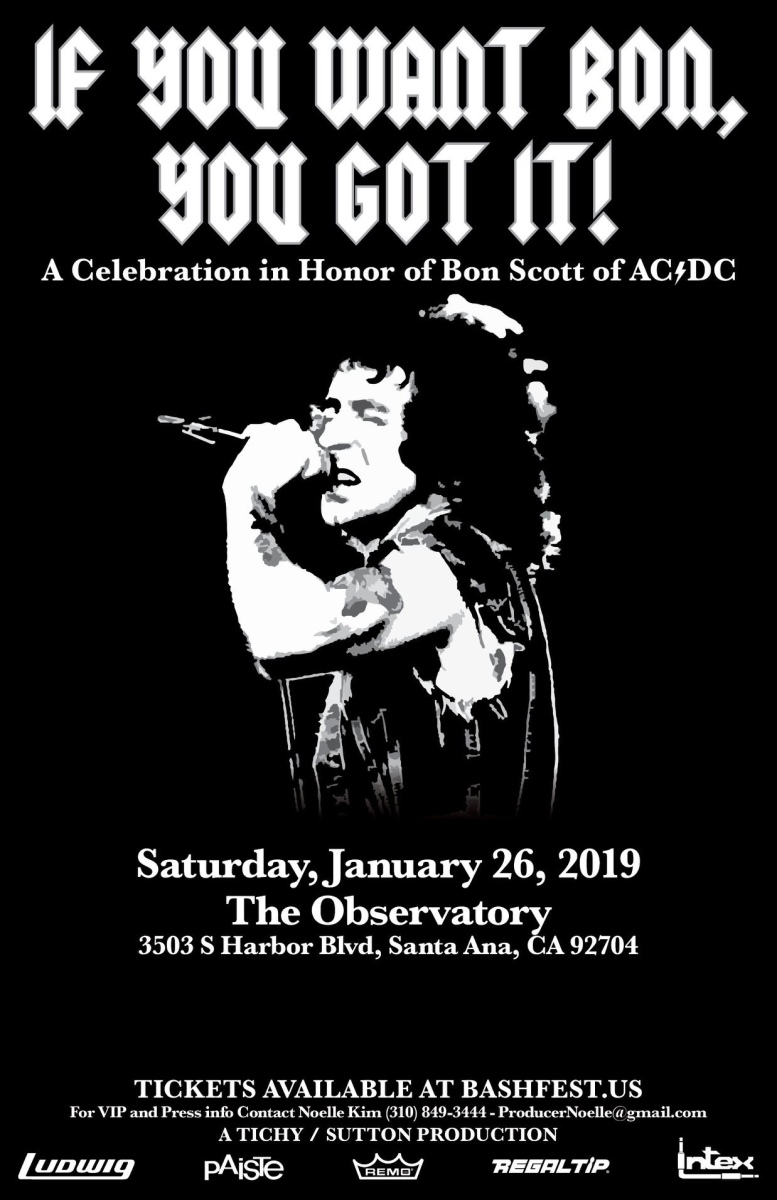 1st All-Star Celebration for AC/DC's Bon Scott Slated During NAMM 2019 - Saturday, January 26th, 2019 at The Observatory, Santa Ana