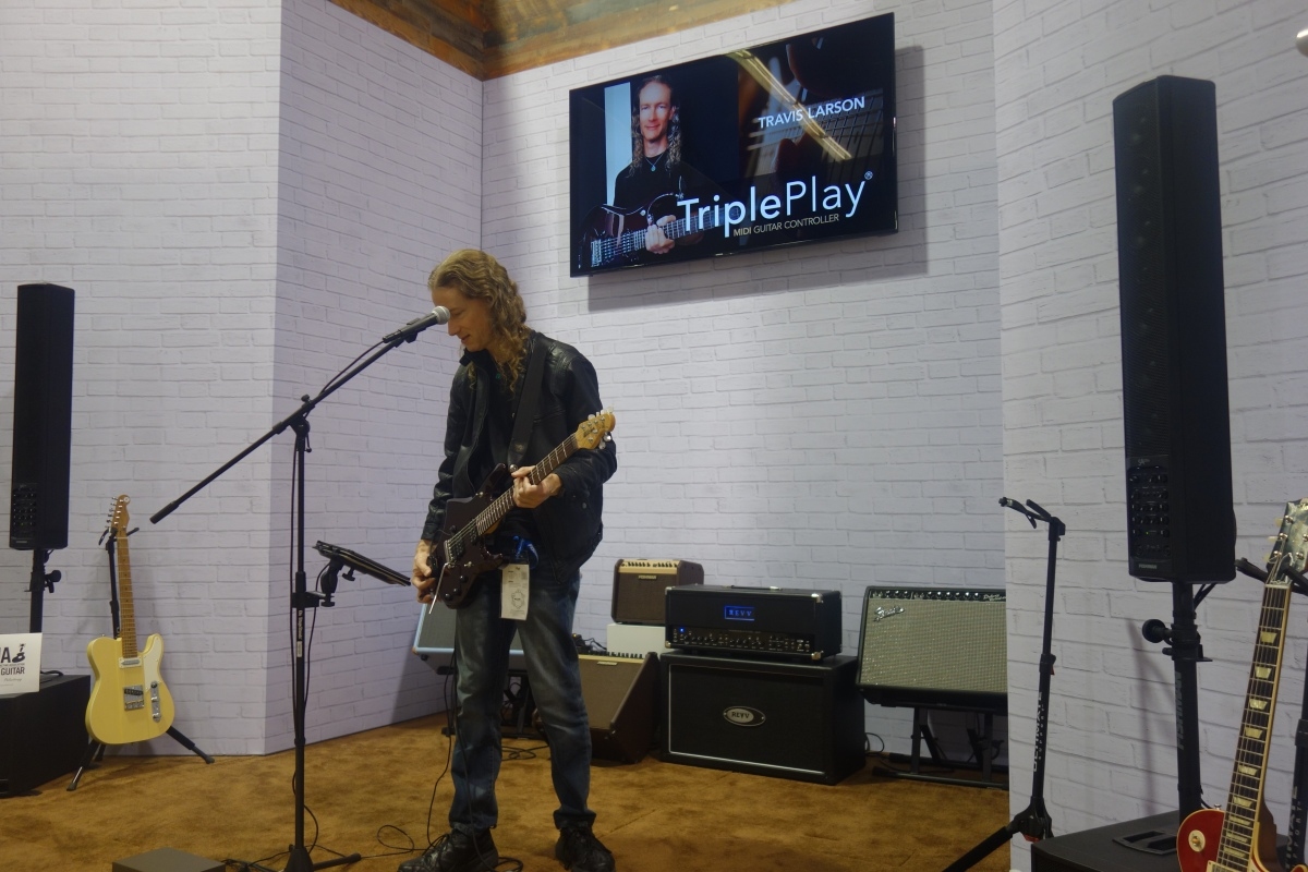 Travis Larson TriplePlay Connect Demo Fishman Booth NAMM 2019